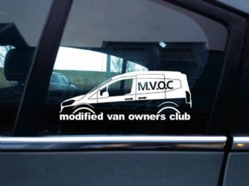 MVOC modified van owners club sticker for Ford Transit courier van